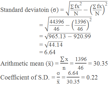 Example 2: calculation of standard deviation