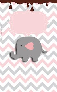 Elefante Bebe En Rosado Y Gris Invitaciones Y Etiquetas Para Candy