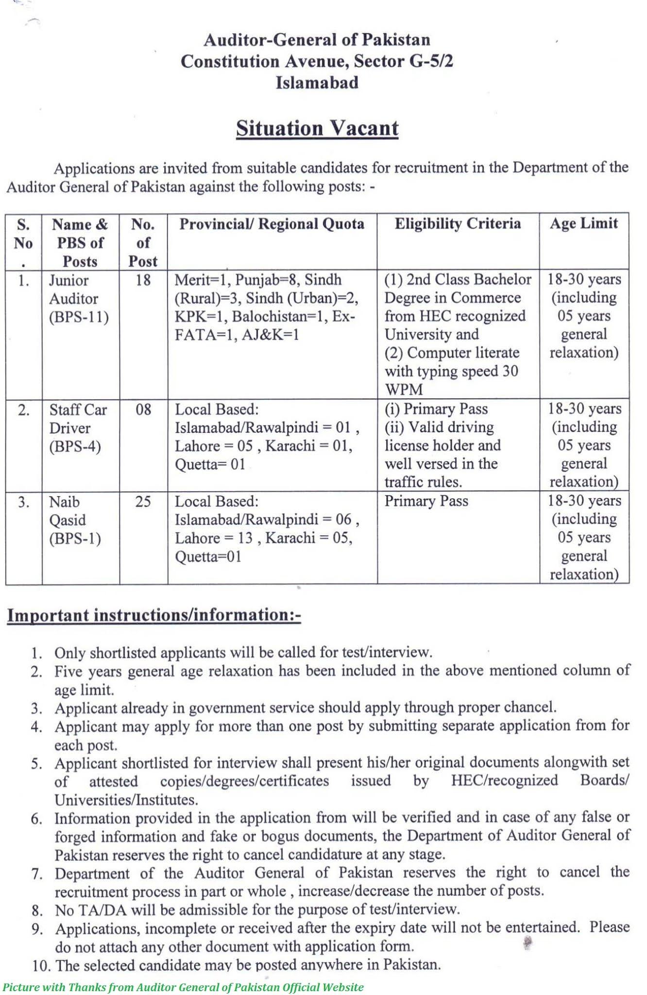 Auditor General of Pakistan Jobs Latest August 2020 - Latest Junior Auditor Jobs 2020