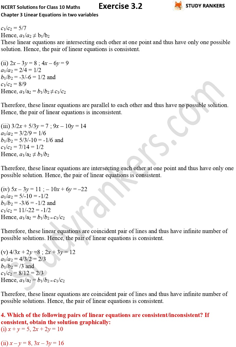 NCERT Solutions for Class 10 Maths Chapter 3 Pair of Linear Equations in Two Variables Exercise 3.2 Part 5