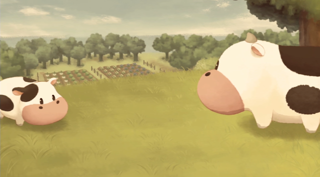 Story of Seasons: Pioneers of Olive Town cows flashback sepia