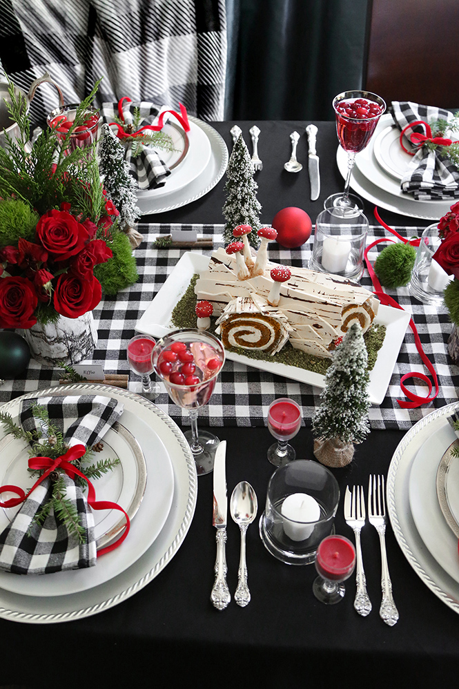 Birch Yule Log Cake and a Buffalo Plaid Tablescape!