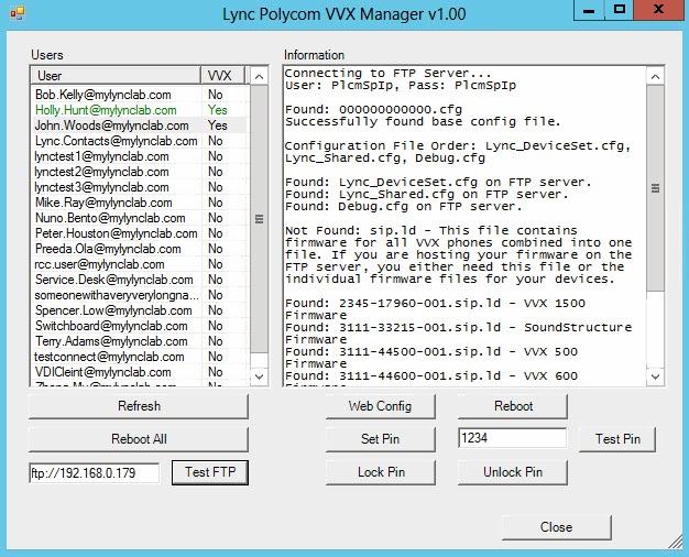 Lync Polycom VVX Manager Tool   My Skype Lab