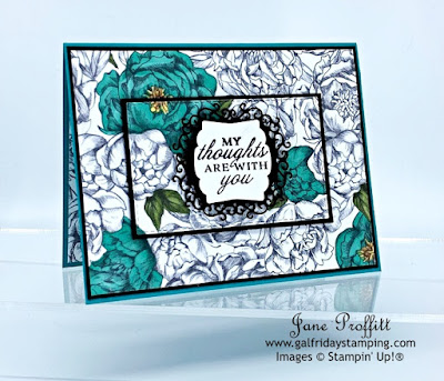 Using elements from the Peony Garden Collection here is today's card.    Have you seen the designer series paper for this collection?