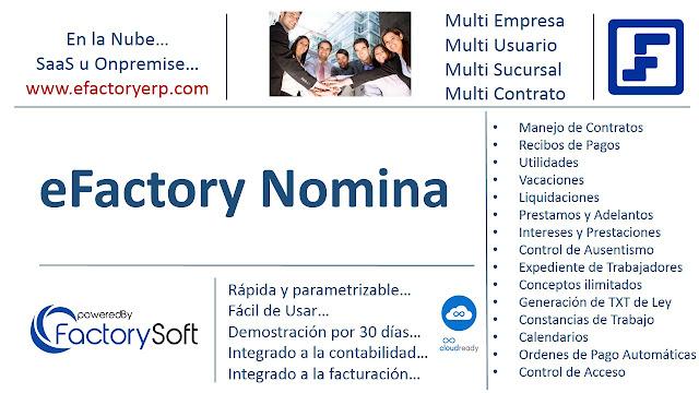 Ejemplo de Recibo de Vacaciones en eFactory Software de Nomina en la Nube