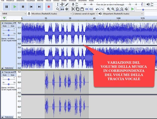 riduzione automatica del volume della traccia musica