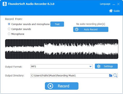 تحميل برنامج تسجيل الصوت للكمبيوتر ThunderSoftAudio Recorder 2020