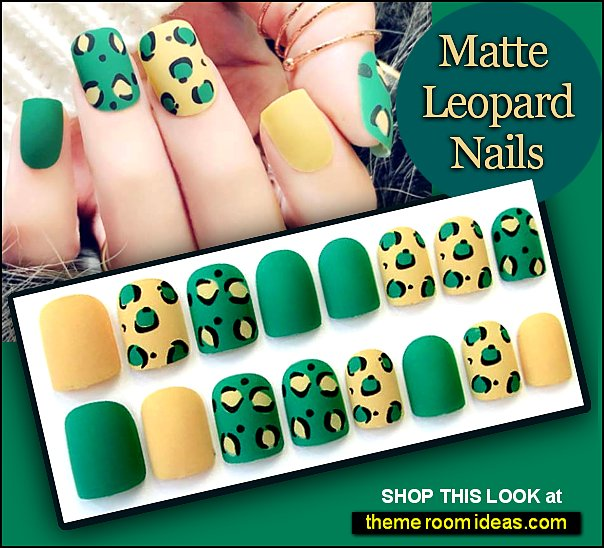 Matte Green Leopard nails leopard false nails wild animal orint nails leopards