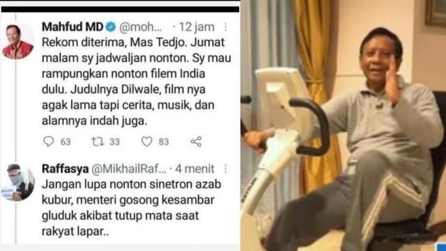 Habis Ikatan Cinta, Mahfud Nonton Film India, Netizen: Jangan Lupa Nonton Sinetron Azab!