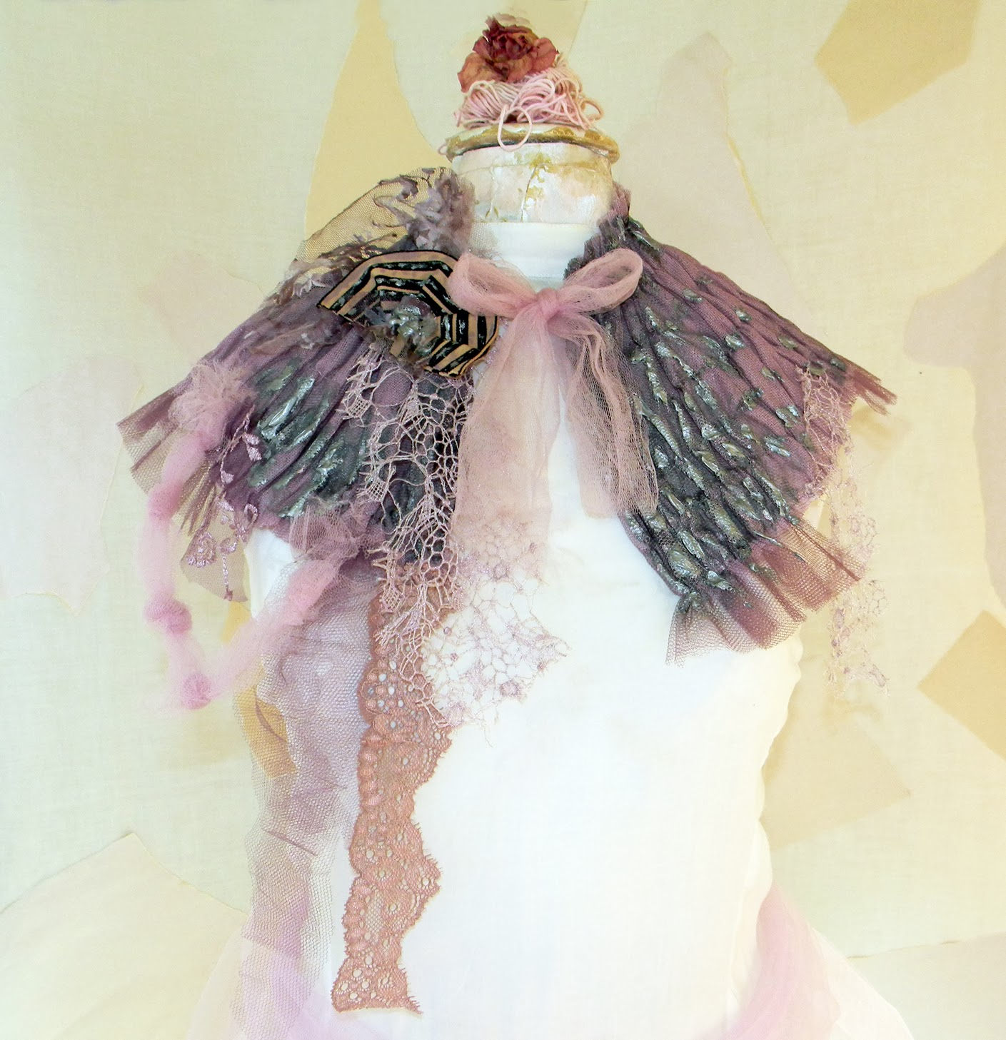 Hand Painted Capelet Fairy Theatrical Fashion Tulle Whimsical Accessory