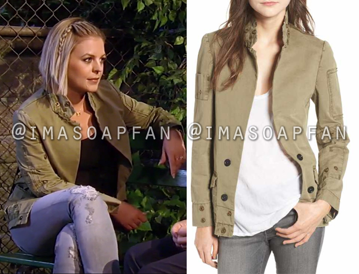 Maxie Jones, Kirsten Storms, Khaki Grunge Utility Jacket, General Hospital, GH