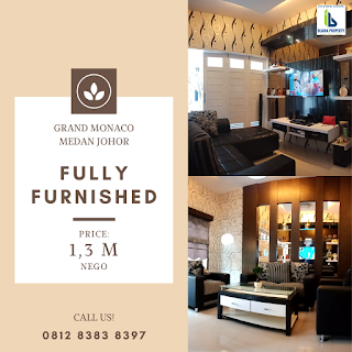 Jual rumah cantik mulus, fully furnished dalam komplek Grand Monaco Medan Johor
