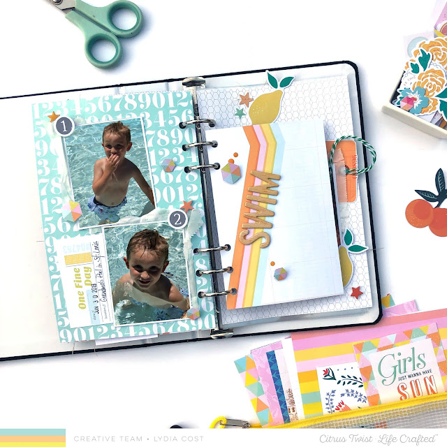 Citrus Twist Kits Life Crafted Scrapbook Album Spread - Lydia Cost