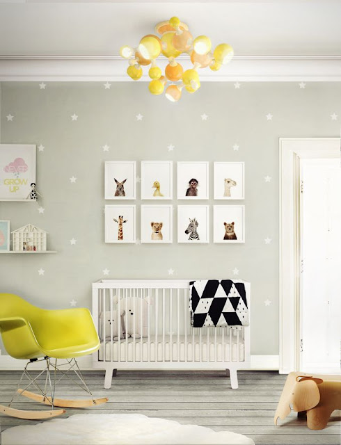deco: nursery in yellow and grey