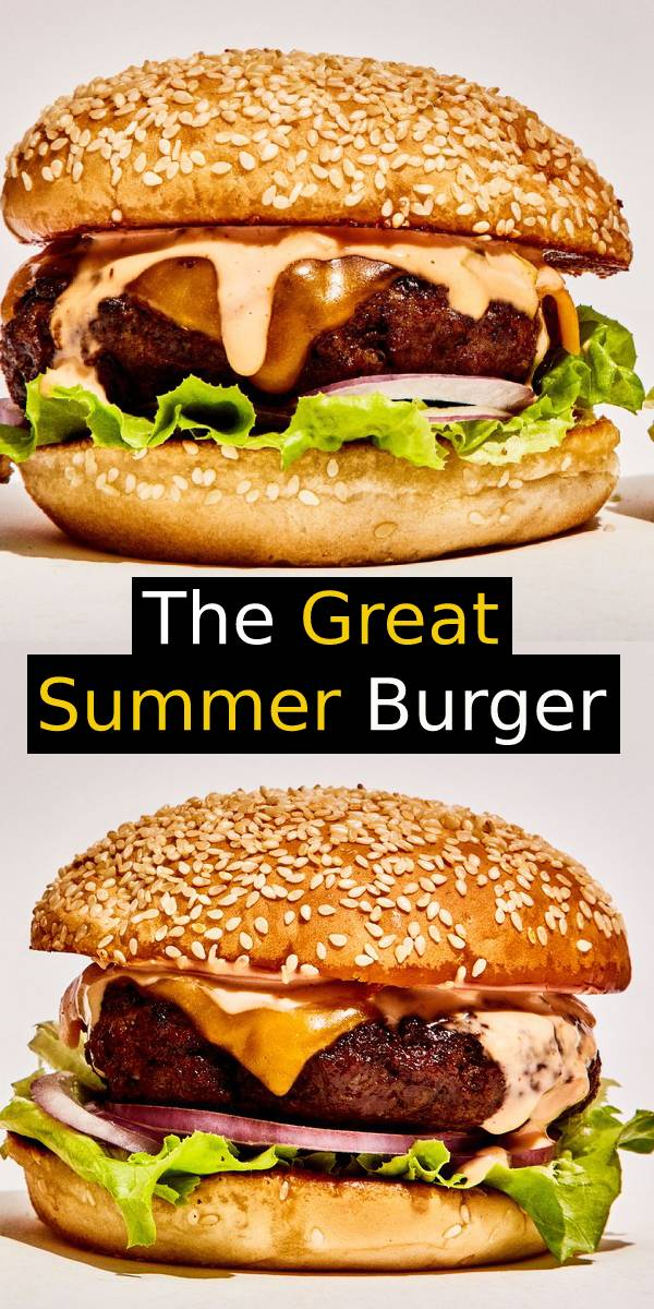 "The Great Summer Burger Recipe - A great burger is not about a fancy brioche bun or homemade ketchup. It's about achieving the ideal proportion of juicy, cheese-cloaked beef, sharp onion, crunchy lettuce, and sweet-tangy ""special sauce,"" wrapped in a soft toasted bun. This one nails it. 
