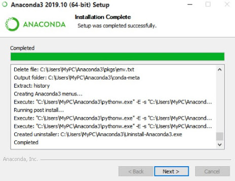 Anaconda3 installation process has been completed.