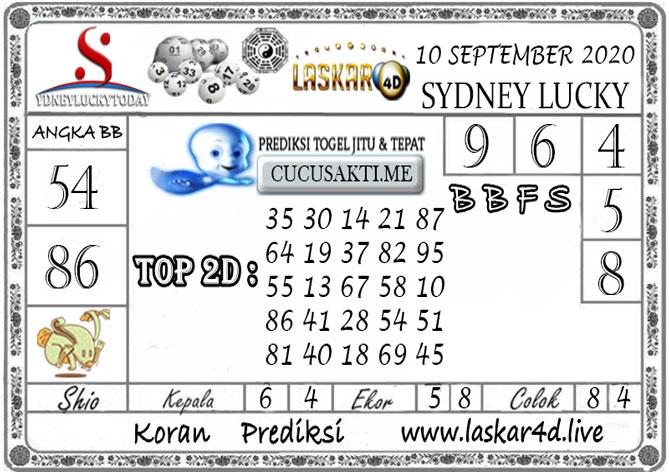 Prediksi Sydney Lucky Today LASKAR4D 10 SEPTEMBER 2020