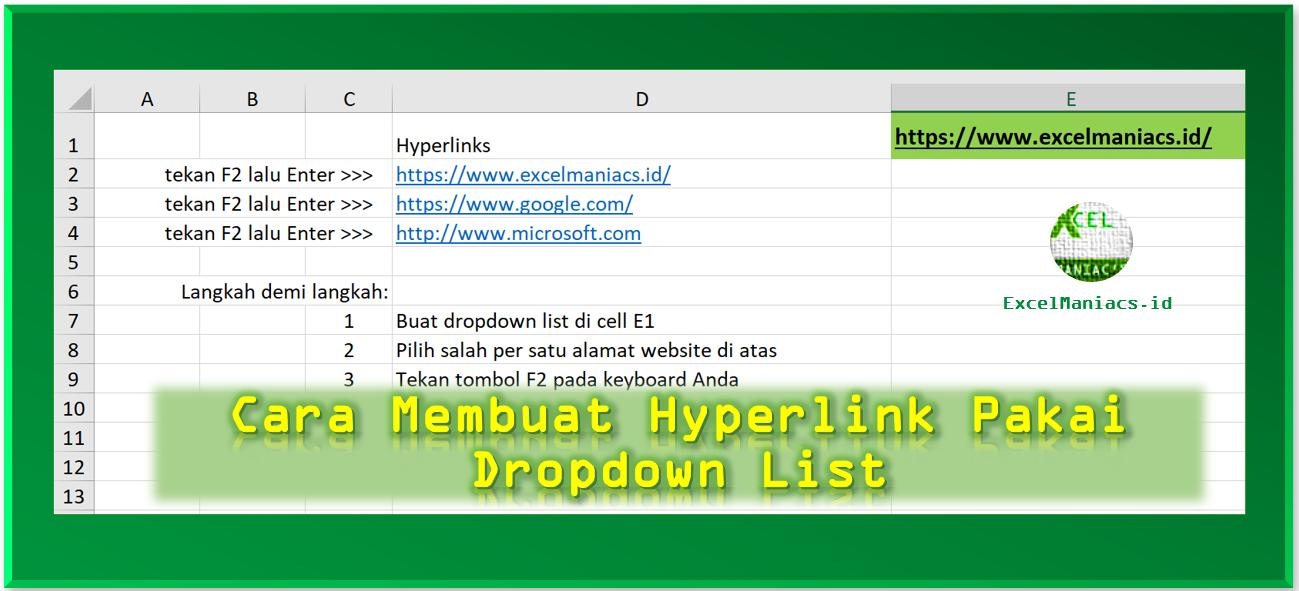 membuat hyperlink menggunakan drop down