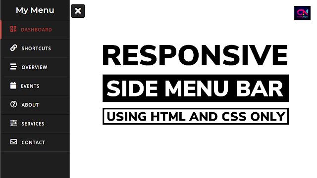 Responsive Sidebar Menu using HTML and CSS