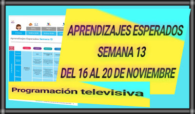 APRENDIZAJES ESPERADOS-SEMANA 13-DEL 16 AL 20 DE NOVIEMBRE DEL 2020-PRIMARIA-PROGRAMACIÓN TELEVISIVA