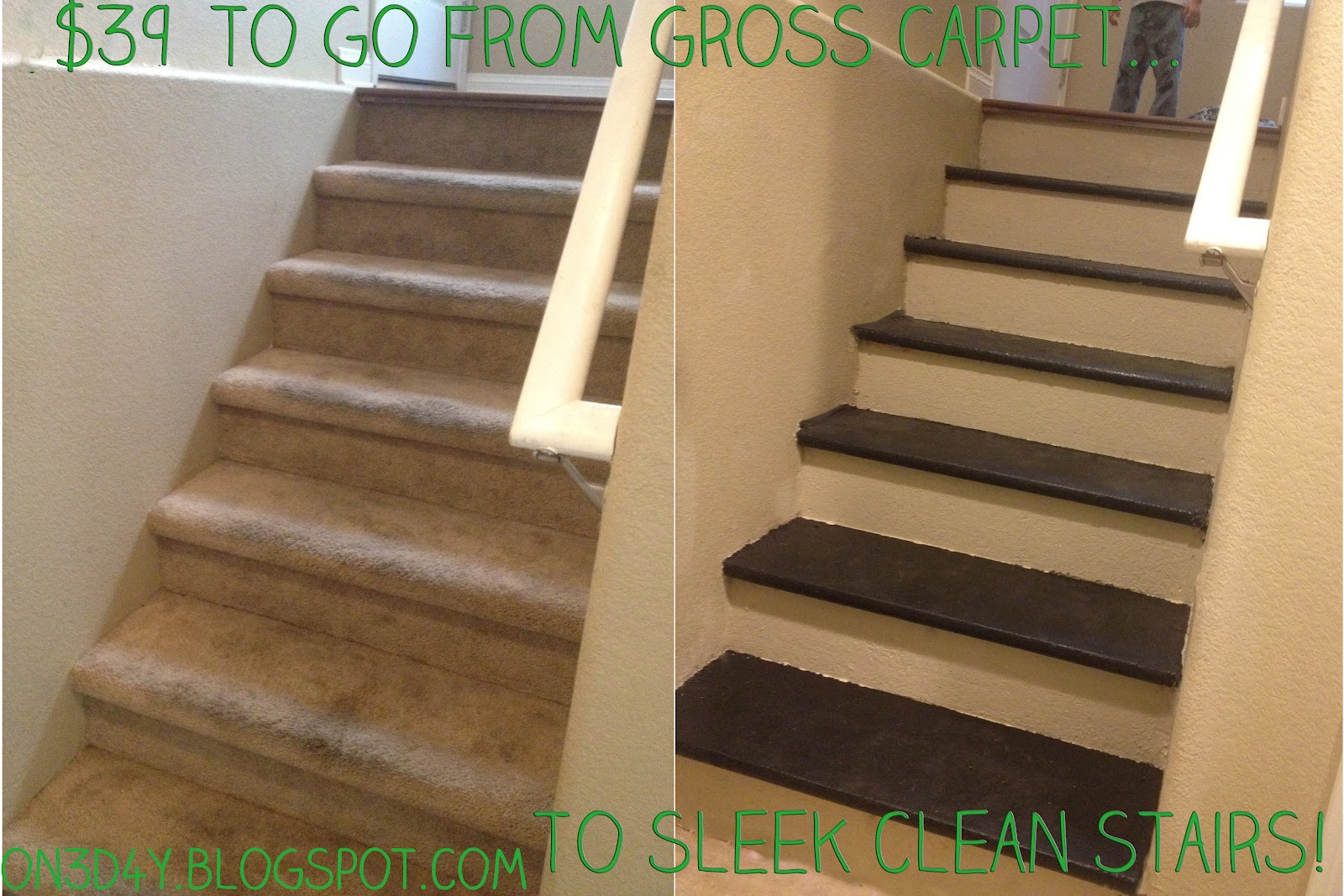 One Day at a Time..: Inexpensive DIY Carpet to Wood Stairs
