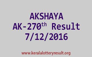 AKSHAYA AK 270 Lottery Results 7-12-2016