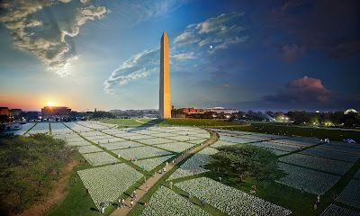 """color composite photograph of """"In America Remember"""" installation of white flags at Washington DC Mall"""