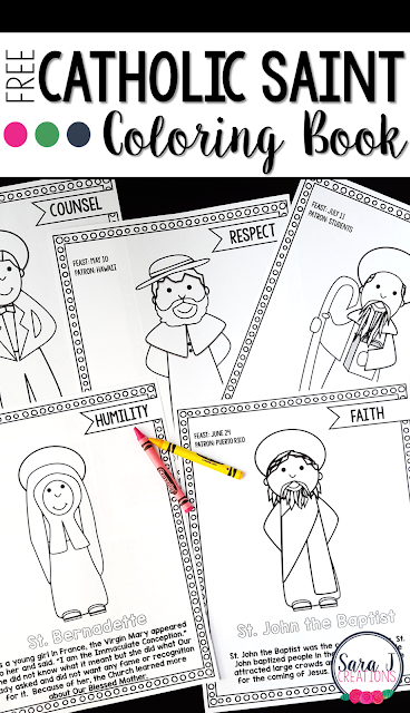 Grab your FREE Catholic Saint Coloring book to learn more about each of the saints, their virtue and feast days.