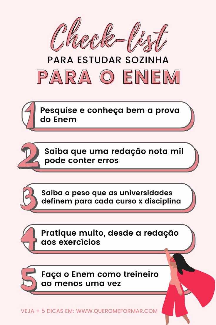 Check-list Como Estudar para o Enem Sozinha Gratuitamente 10 Dicas que Realmente Funcionam