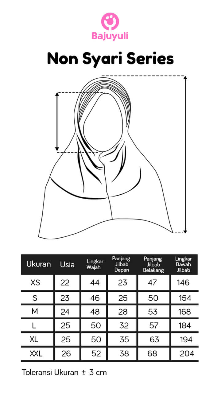 Size chart jilbab anak Bajuyuli