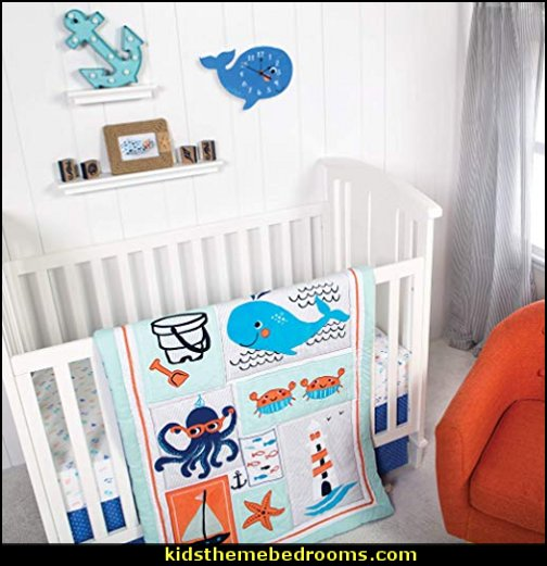 Trend Lab Ocean Pals 3Piece Crib Bedding Set   whale nursery decor - whale nursery lamp - whale nursery ideas - whale nursery bedding - whale baby bedrooms - whale nursery