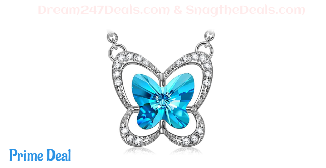 70%OFF LADY COLOUR Mother's Day Jewelry Gifts for Mom, Blue Butterfly Stylish Swarovski Crystal Necklace/Bracelet for Women, Hypoallergenic Jewelry Gift Box Packing, Nickel Free Passed SGS Test