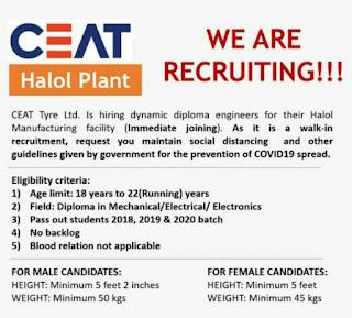 Ceat Tyre Ltd.  is Hiring Diploma Engineers for Their Halol, Gujarat