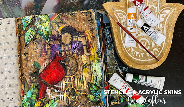 Art Journaling with Stencils & Acrylic Skins - Blog Column by Gwen Lafleur