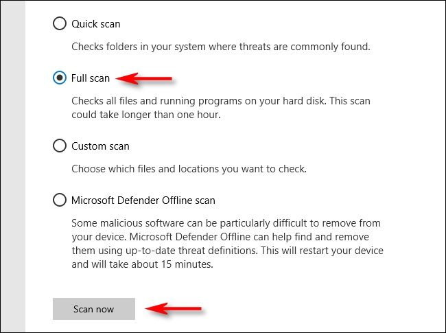 windows defender scan option