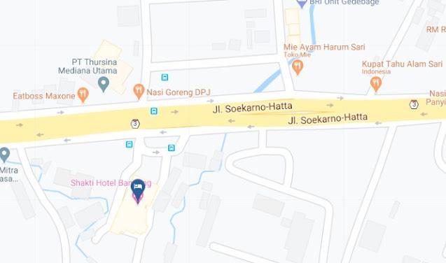 Map Letak Hotel Shakti Bandung