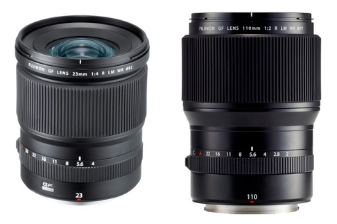 Объективы Fujinon GF 110mm f/2 и GF 23mm f/4