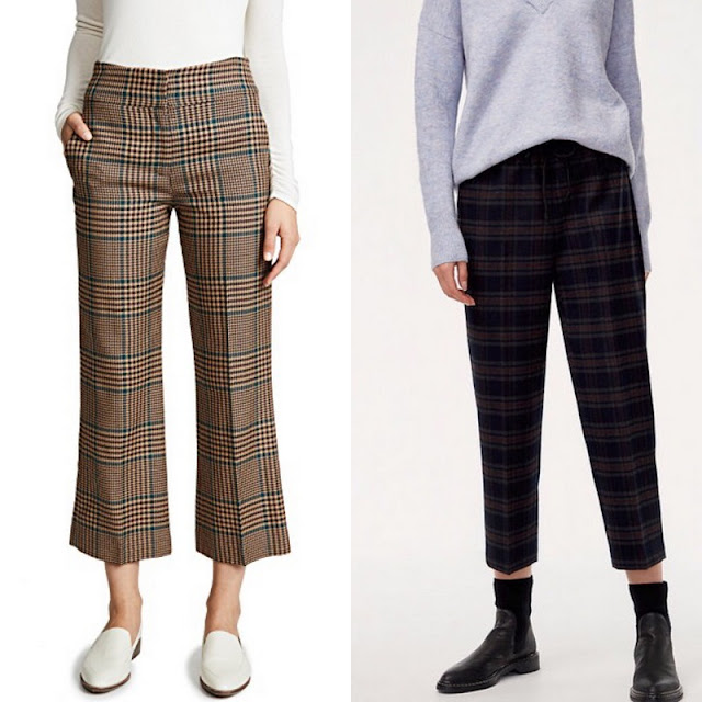 two shots of models in plaid pants