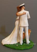 cake topper marina militare divisa bianca sposo esercito sposini abbracciati orme magiche