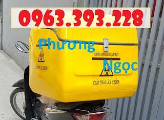 Thùng vận chuyển chất thải nguy hại sau xe máy, thùng chở rác y tế 0b1d914574789626cf69