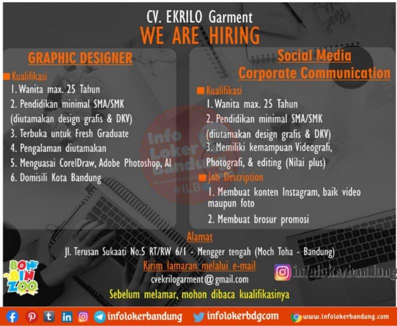 Lowongan Kerja CV. Ekrilo Garment Bandung April 2021