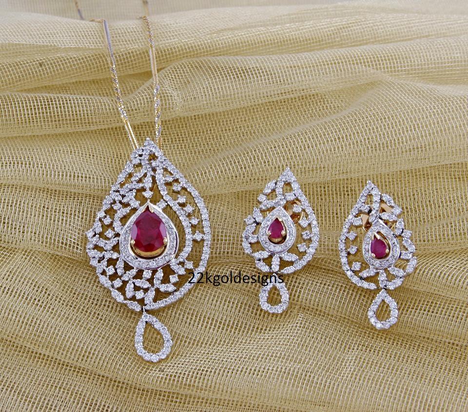 Ravishing ruby diamond pendant set 22kgolddesigns ravishing ruby diamond pendant set aloadofball Image collections