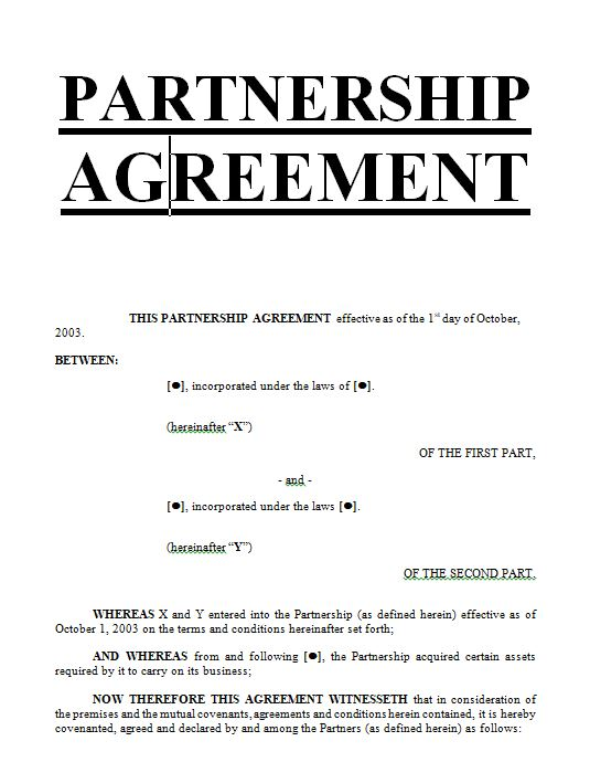 Exemples Samples Partnership Agreement Doc And Pdf Sample - 3 way partnership agreement template