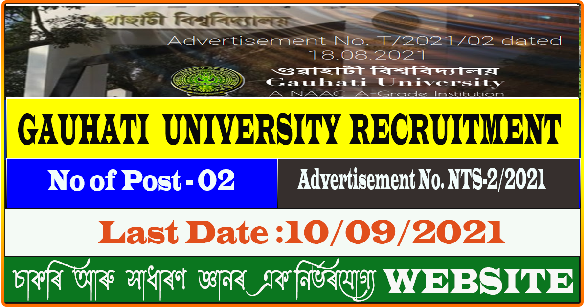 GU Recruitment 2021 - RF and FI Vacancy