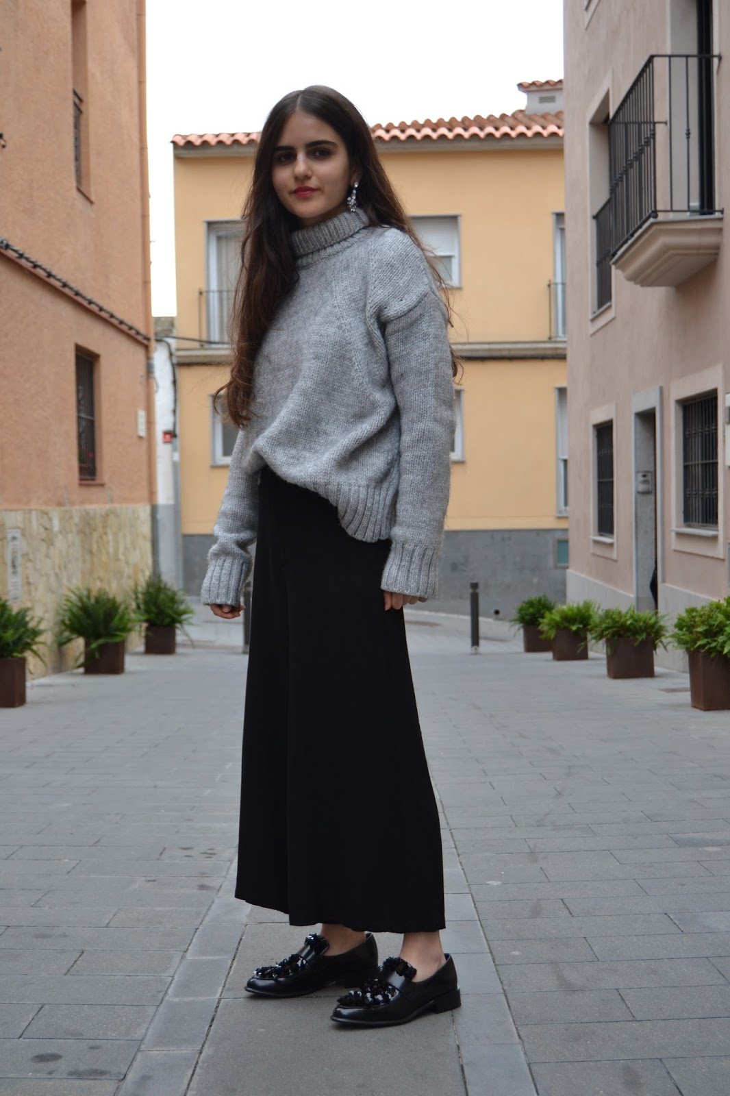 outfit with grey jumper and black culottes