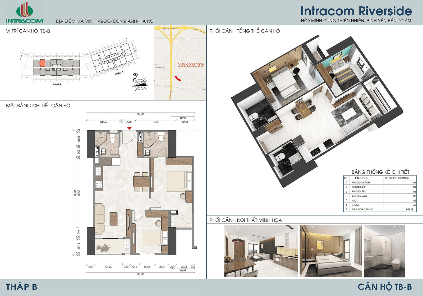 Thiết kế căn 02 - 07 - 64m2