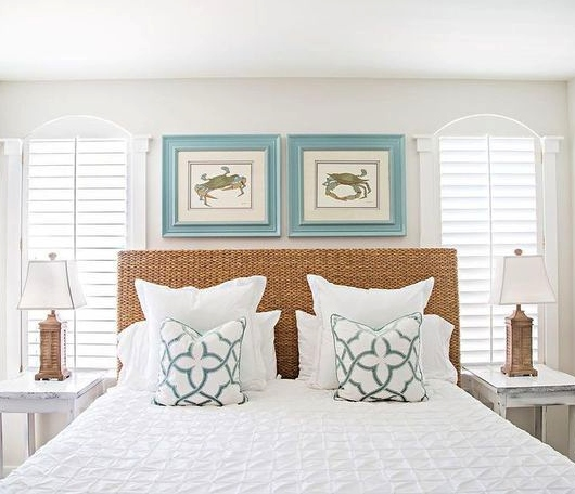 Rattan Headboard Bedroom Coastal Beach Condo Florida