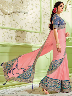Indian party Light Pink Georgette Silk Designer Saree with Contrast Embroidered Floral Border