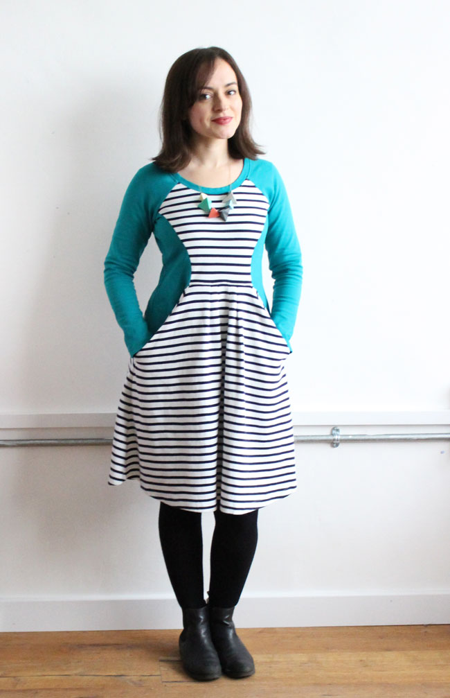 Tilly's teal and stripe ponte Zadie dress - sewing pattern by Tilly and the Buttons