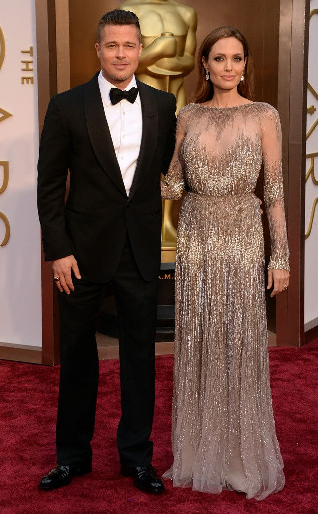 Angelina Jolie in Elie Saab Couture and Brad Pitt at the Oscars 2014